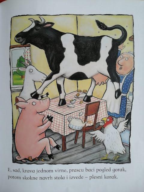 krava na stolu