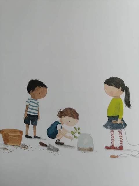 Mara presađuje biljku