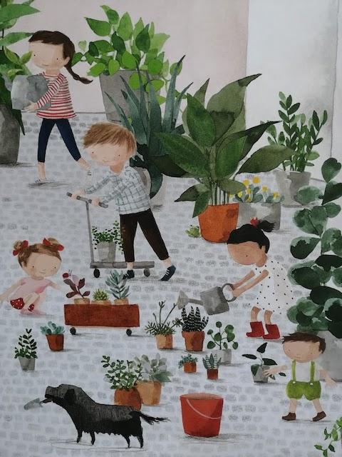 djeca sade i zalijevaju cvijece