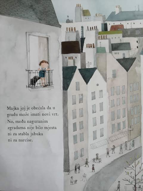 Mara tuzno gleda zgrade iz svog stana