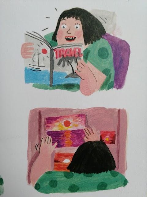 Olga čita u kiosku