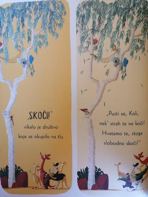 koala ne želi skočiti sa stabla